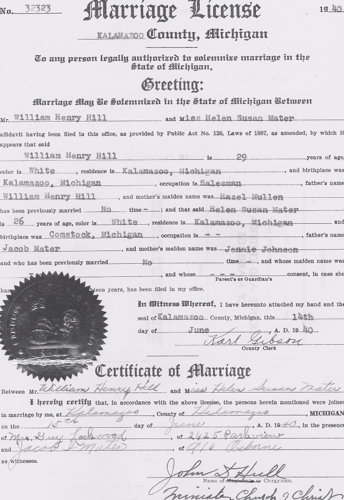 Marriage Certificate of William Henry Hill and Helen Susan Mater